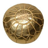 Leather Moroccan Pouf Gold Badia Design Pouf - 2