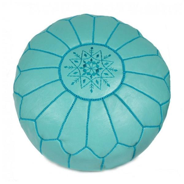Leather Moroccan Pouf Teal Badia Design Pouf - 9