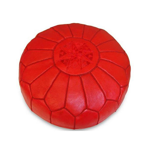 Leather Moroccan Pouf Red Badia Design Pouf - 3
