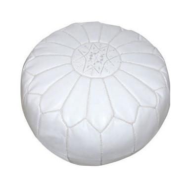 Leather Moroccan Pouf Pouf Badia Design White
