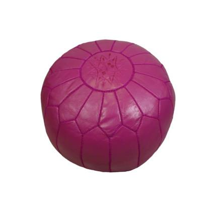 Leather Moroccan Pouf Pink Badia Design Pouf - 5
