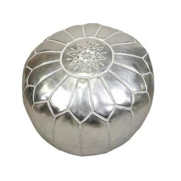 Leather Moroccan Pouf Silver Badia Design Pouf - 6