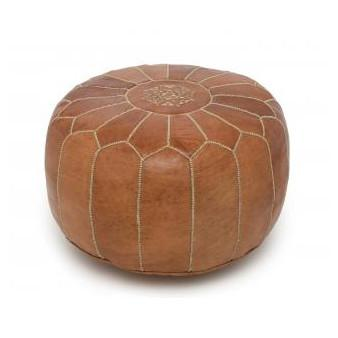 Leather Moroccan Pouf Tobacco Badia Design Pouf - 7