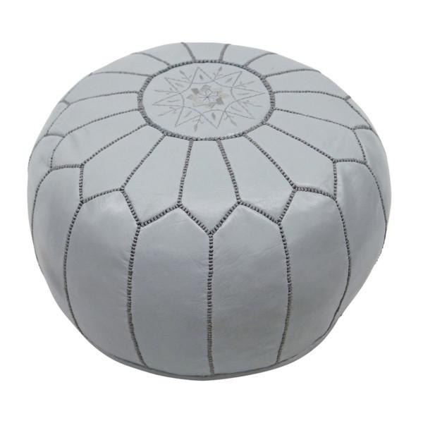 Leather Moroccan Pouf Grey Badia Design Pouf - 8