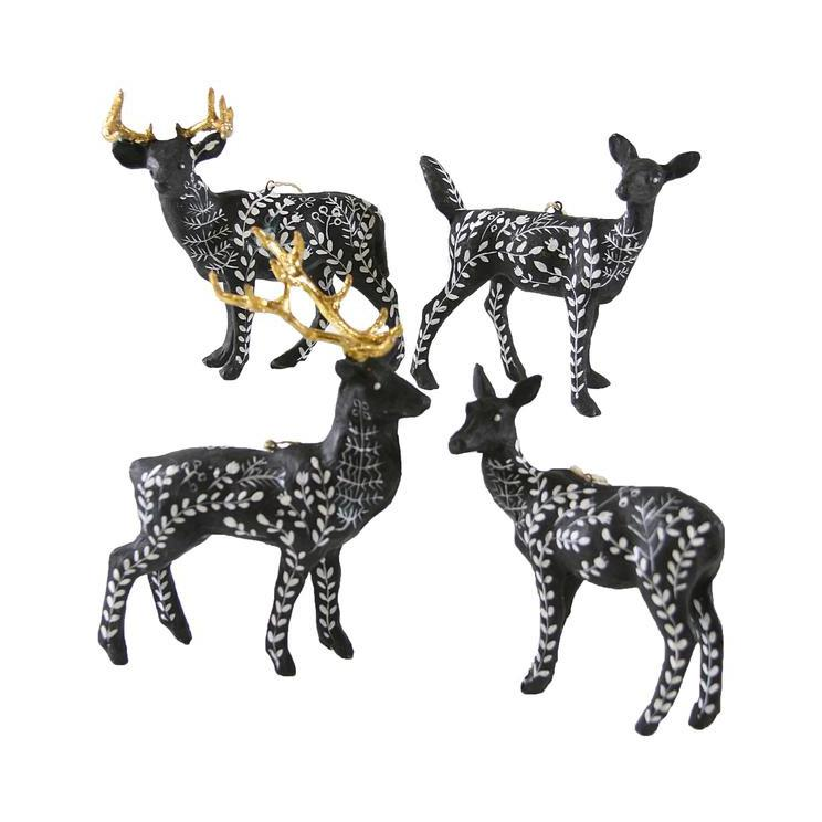 Moonlit Black Fauna Deer Ornament  Cody Foster & Company Ornaments