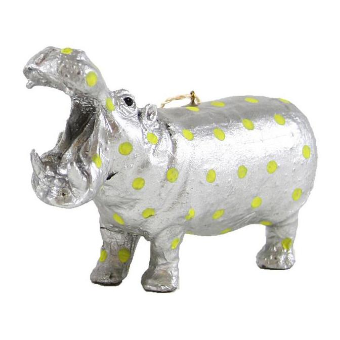 Neon Dot Hippo Ornament Yellow Cody Foster & Company Ornaments - 1