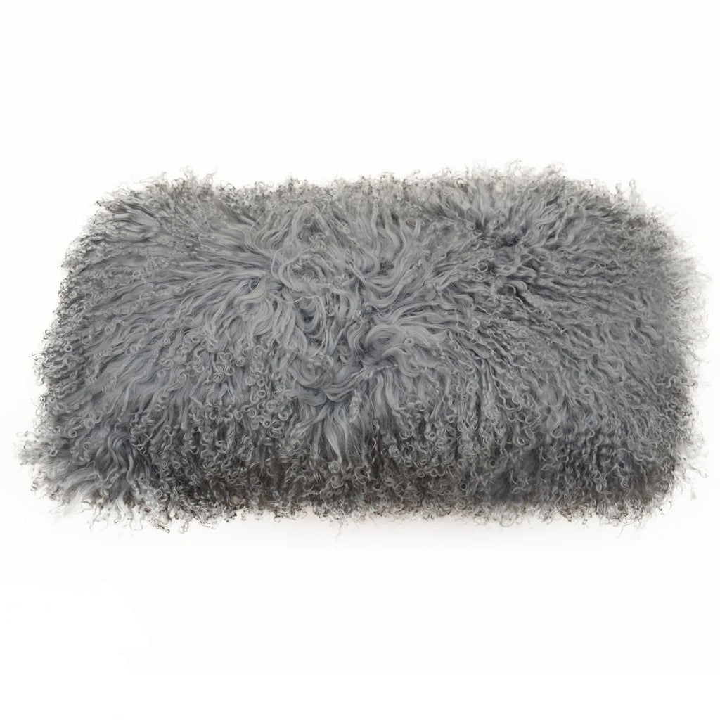 Tibetan Fur Dark Grey Lumbar Pillow