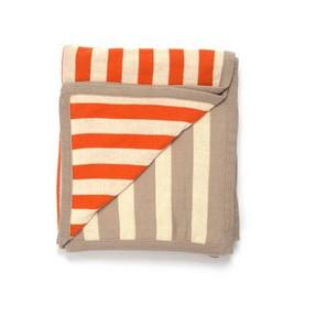 Sneaky Stripes Cotton Throw Blanket Orange & Tan Darzzi Blankets - 1