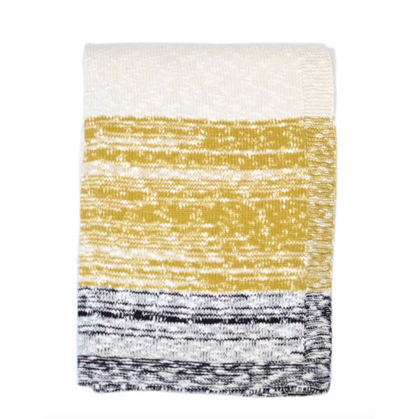 Thick and Thin Mustard Knit Throw Blanket  Darzzi Blankets - 1