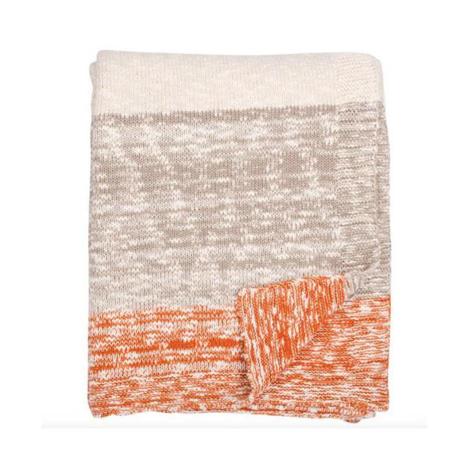 Thick and Thin Orange Knit Throw Blanket  Darzzi Blankets - 1