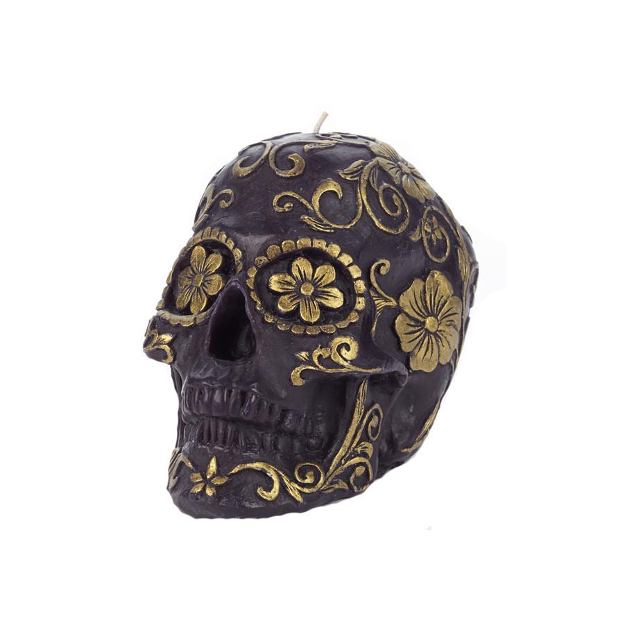 Skull Floral Black/Gold Candle Large Etal Designs Candles