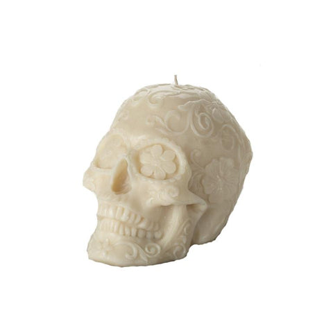 Skull Floral Black/Gold Candle