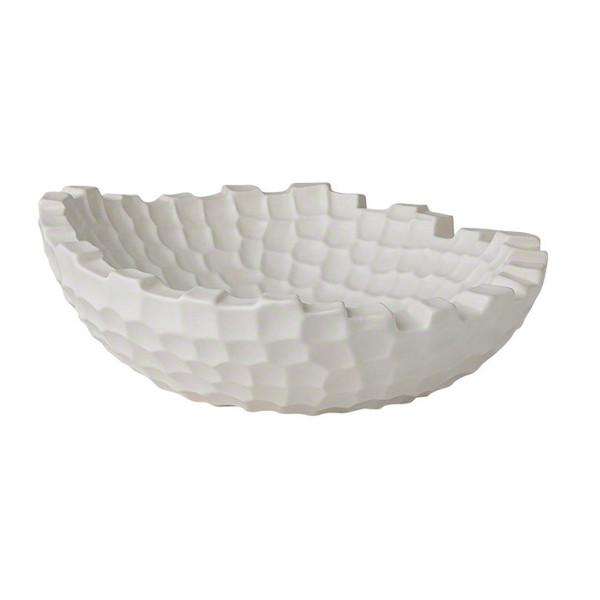 Random Grid Ceramic Bowl Bowls Global Views Matte White