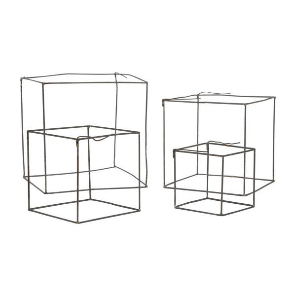 Wire Cube Sculpture Set  Gold Leaf Wall Decor - 1
