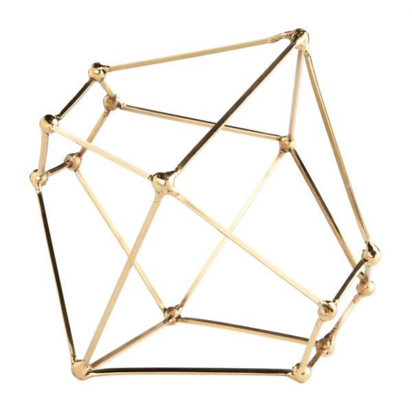 Polyhedron Brass Sculpture  Gold Leaf Accessories - 1