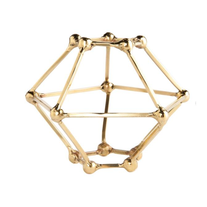 Polyhedron Brass Sculpture Small Gold Leaf Accessories - 2
