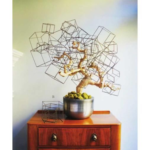 Wire Cube Sculpture Set  Gold Leaf Wall Decor - 2