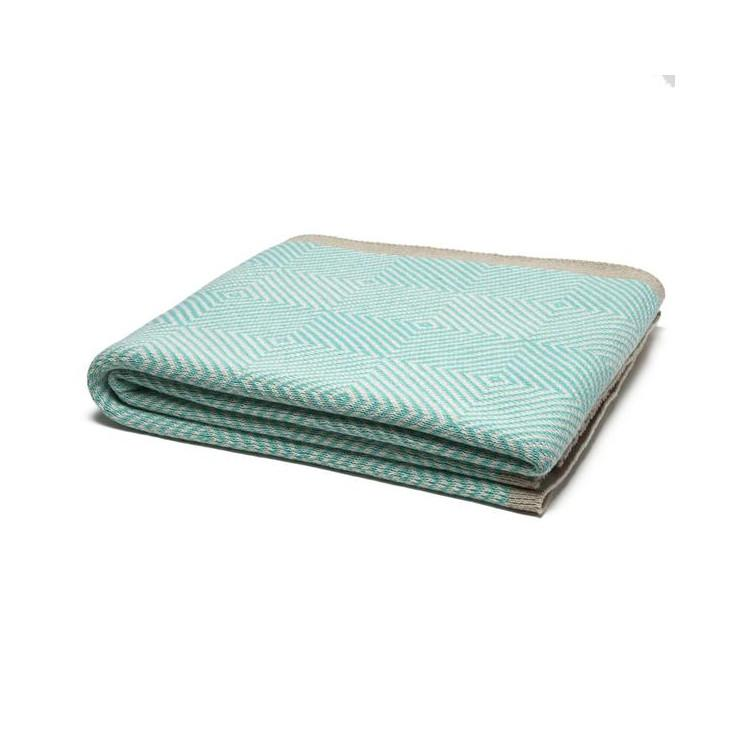 Seafoam Woven Square Cotton Throw Blanket  In2Green Blankets
