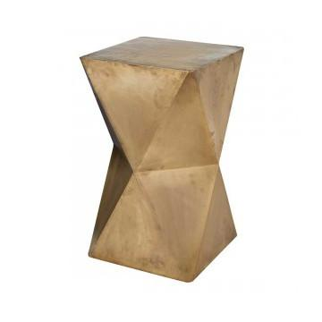 Gold Faceted Wood Stool  Lazy Susan Side Table