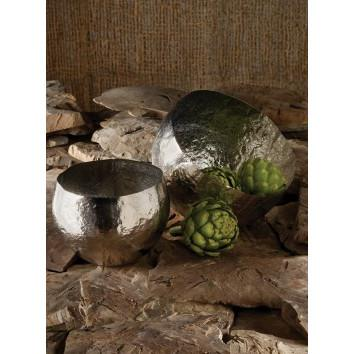 Silver Hammered Brass Bowl  Lazy Susan Bowls - 2