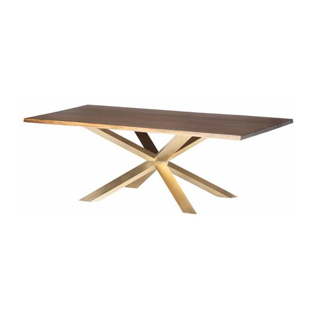 Couture Dining Table Large / Seared Oak/Gold NUEVO Tables - 1