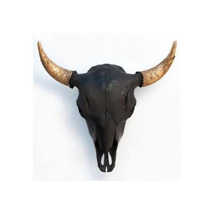 Bison Skull Black/Gold Horns Owen Mortensen Wall Decor - 5