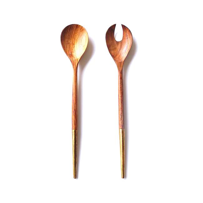 Brass Tip Salad Servers S/2