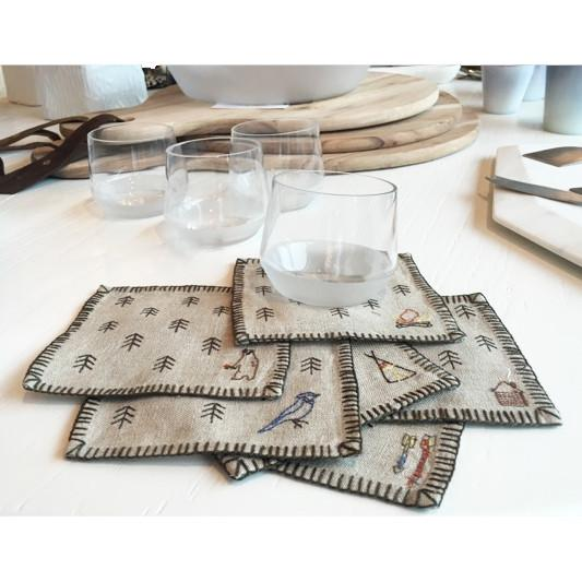 Tiny Forest Linen Coasters  ROOST Serveware - 2