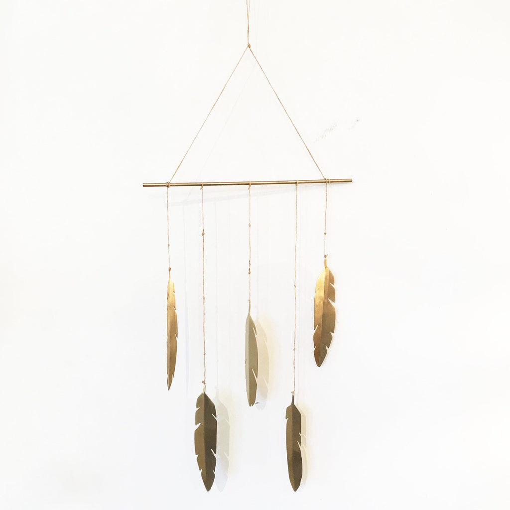 Brass Feather Wall Hanging