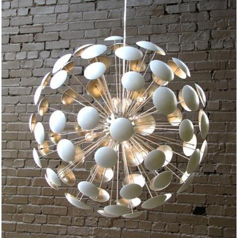 Bilbao Chandelier White- Silver Leaf Solaria Lighting - 3