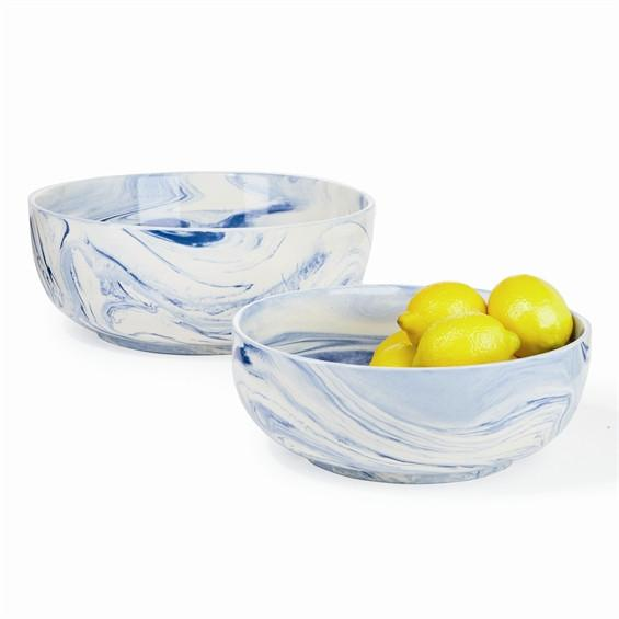 Terre Melee Blue Porcelain Bowl  Two's Company Bowls - 1