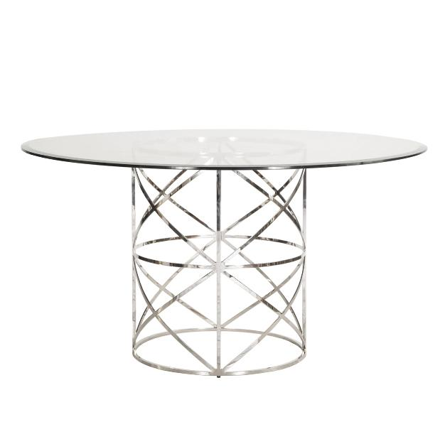Anderson Dining Table Tables Worlds Away Polished Nickel Large