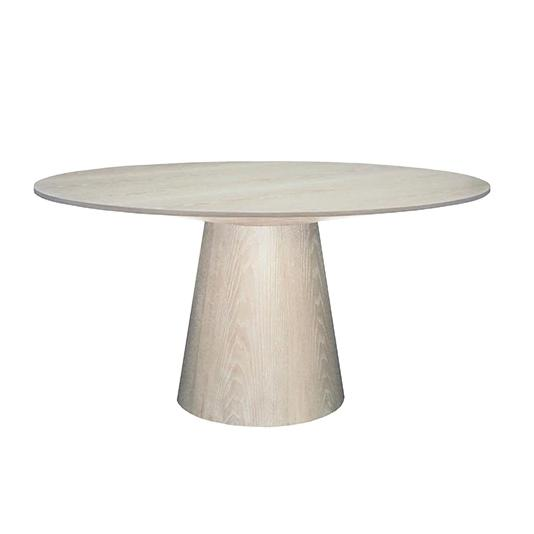 Hamilton Round Dining Table Tables Worlds Away Natural Cerused Oak