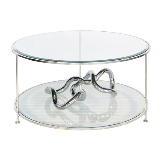 Rollo Coffee Table Nickel Plated Worlds Away Coffee Table - 1