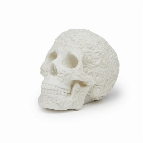 Faux Marble Carved Resin Skull