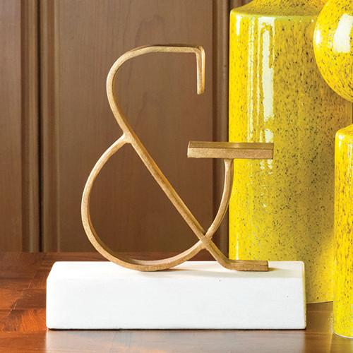 Ampersand Object Brass Sculpture Gold Leaf Global Views Accessories - 3