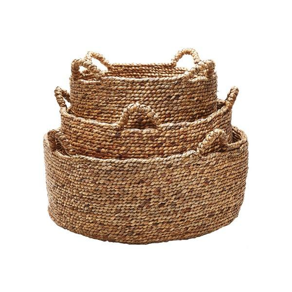 Natural Hyacinth Low Rise Basket Small Lazy Susan Baskets