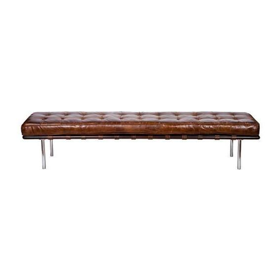 Vintage Tobacco Leather Bench  Regina Andrews bench - 1