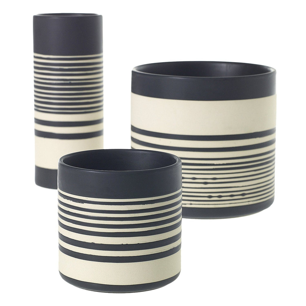 Sinclair Striped Stoneware Vase Accent Decor