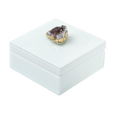 Amethyst Geode Box Boxes Two's Company Square