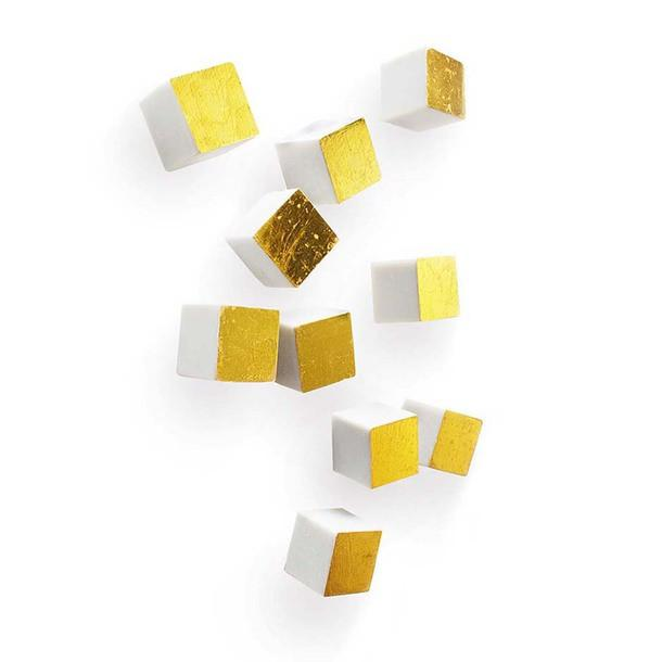 Wall Cube Resin Wall Decor Gold Gold Leaf Wall Decor - 1