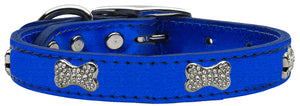 True Blue - Bella Sparkles Genuine Leather Metallic and Crystal Dog Collar