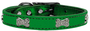 Emerald - Bella Sparkles Genuine Leather Metallic and Crystal Dog Collar