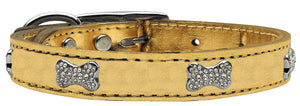 Gold - Bella Sparkles Genuine Leather Metallic and Crystal Dog Collar