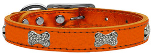 Orange - Bella Sparkles Genuine Leather Metallic and Crystal Dog Collar