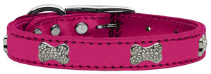 Hot Pink - Bella Sparkles Genuine Leather Metallic and Crystal Dog Collar