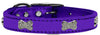 Purple - Bella Sparkles Genuine Leather Metallic and Crystal Dog Collar
