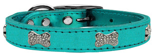 Turquoise - Bella Sparkles Genuine Leather Metallic and Crystal Dog Collar
