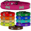 Bella Sparkles Dog Collar - Genuine Leather in Metallic Collar with Crystal Dog Bones