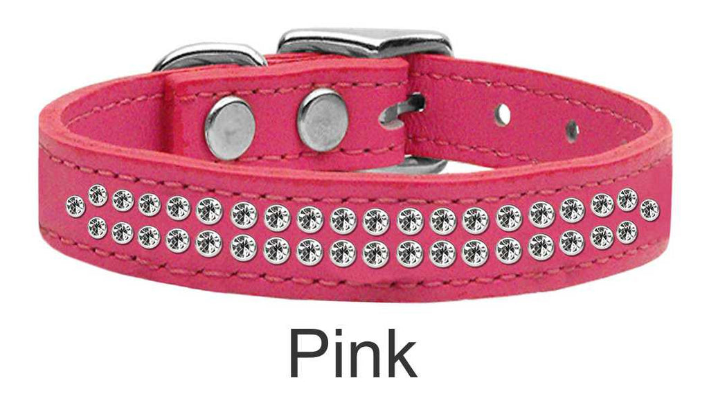 Premium Leather Dog Collar with 2 Rows of Crystals